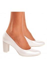 Pantofi dama din Piele Naturala Alba 4123