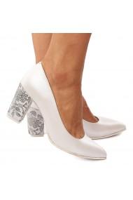 Pantofi cu toc dama din piele naturala alba cu toc gros 4196