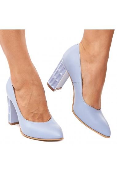 Pantofi dama din piele naturala bleu ciel 4213