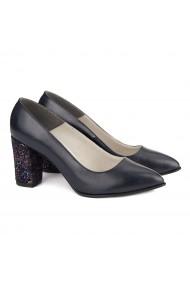 Pantofi cu toc dama din piele naturala bleumarin 4125