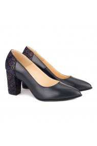 Pantofi cu toc dama din piele naturala bleumarin 4153