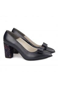 Pantofi cu toc dama din piele naturala bleumarin 4167