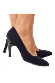 Pantofi cu toc dama din piele naturala bleumarin 4205
