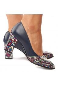 Pantofi cu toc dama din piele naturala bleumarin cu toc colorat 4186