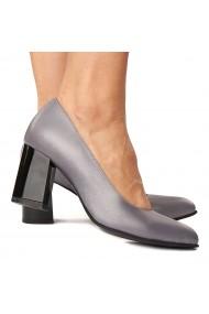 Pantofi cu toc dama din piele naturala gri-mov 4224