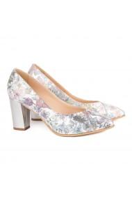 Pantofi cu toc dama din piele naturala model floral 4134