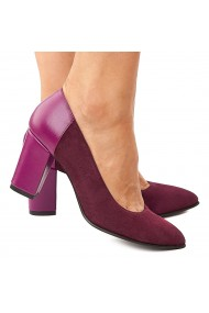 Pantofi dama din piele naturala mov 4199