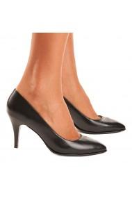 Pantofi cu toc dama din piele naturala neagra 4077