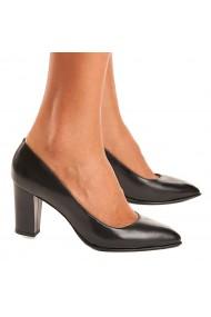 Pantofi cu toc dama din piele naturala neagra 4078