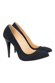 Pantofi cu toc dama din Piele Naturala neagra 4126
