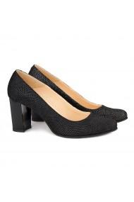 Pantofi cu toc dama din piele naturala neagra 4144