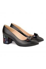 Pantofi cu toc dama din piele naturala neagra 4158