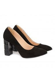 Pantofi cu toc dama din piele naturala neagra 4161