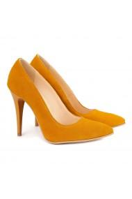 Pantofi cu toc dama din Piele Naturala Orange 4124