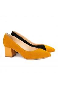 Pantofi cu toc dama din piele naturala orange 4146