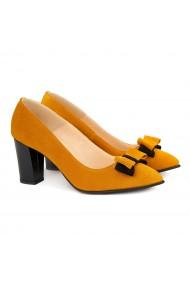 Pantofi cu toc dama din piele naturala orange 4149