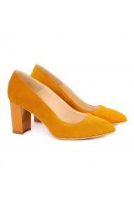 Pantofi cu toc dama din piele naturala orange 4150
