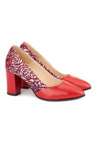 Pantofi dama din piele naturala rosie 4162