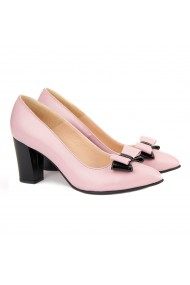 Pantofi cu toc dama din piele naturala roz 4139