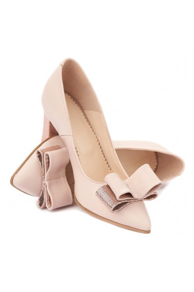 Pantofi cu toc dama din piele naturala roz 4333