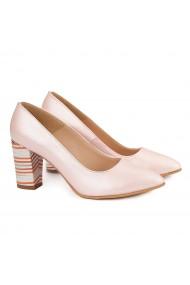 Pantofi cu toc dama din piele naturala roz pudra 4142