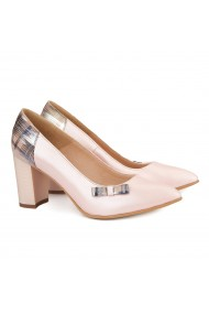 Pantofi cu toc dama din piele naturala roz pudra 4143