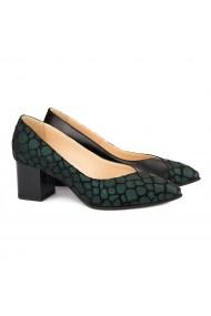 Pantofi cu toc dama din piele naturala verde 4156