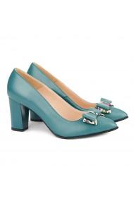 Pantofi cu toc dama din piele naturala verde 4160