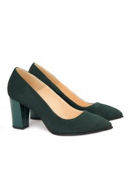 Pantofi cu toc dama din piele naturala verde 4163