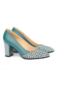 Pantofi cu toc dama din piele naturala verde 4164