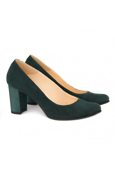 Pantofi cu toc dama din piele naturala verde 4166