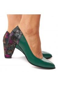 Pantofi cu toc dama din piele naturala verde toc colorat 4179