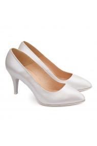 Pantofi cu toc dama eleganti din piele naturala alba 4122