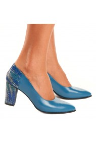 Pantofi dama eleganti din piele naturala albastra 4120