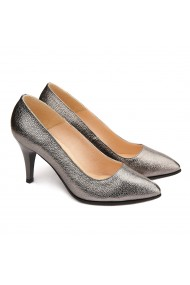 Pantofi cu toc dama eleganti din piele naturala argintie 4084