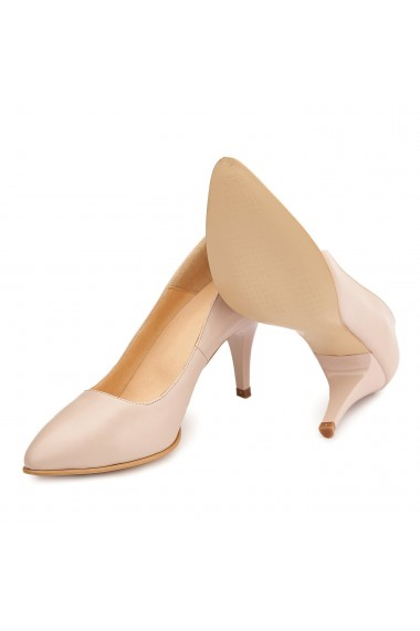 Pantofi cu toc dama eleganti din piele naturala bej 4082