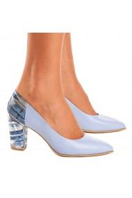 Pantofi cu toc dama eleganti din piele naturala bleu 4087