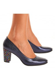 Pantofi cu toc dama eleganti din piele naturala bleumarin 4091