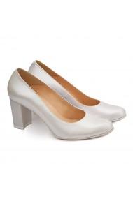 Pantofi cu toc dama eleganti din piele naturala gri 4089