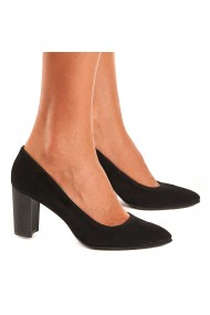 Pantofi cu toc dama eleganti din piele naturala neagra 4085