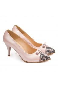 Pantofi cu toc dama eleganti din piele naturala roz 4119