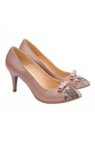 Pantofi cu toc dama eleganti din piele naturala roz pudra 4090