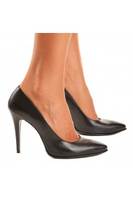Pantofi cu toc dama eleganti din piele neagra 4079