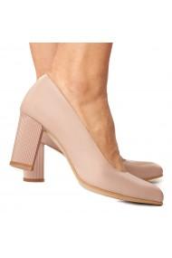 Pantofi cu toc dama nude din piele naturala 4231
