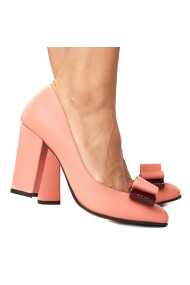 Pantofi cu toc dama roz flamingo din piele naturala 4226