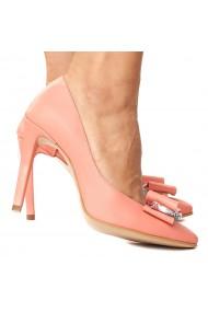 Pantofi dama roz flamingo din piele naturala 4229