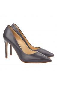 Pantofi cu toc dama stiletto din piele naturala gri 4059