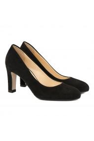 Pantofi cu toc dama stiletto din piele intoarsa neagra 4061