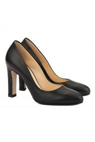 Pantofi cu toc dama stiletto din piele neagra 4063