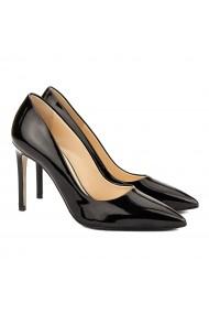 Pantofi cu toc dama stiletto din piele neagra lacuita 4065